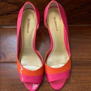 Pink/orange patent leather open toe pumps size 10
